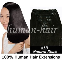 15inch 18inch 20inch  clip in Remy hair extension #1B natural black color 70gram containing 7pieces/pack