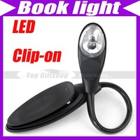 Free shipping/(2pcs/lot)Travel Reading LED Book light Flexible Neck Clip-on #230
