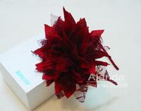 "Clearance 12pcs/lot, 5"" large wrinkled chiffon flower headband handmade lace alice band  AJB-0013 freeshipping 7colors"