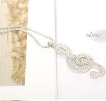 N016 Full rhinestone fashion jewelry Crystal Clear Music Note Long Necklace Necklaces for women B1 8
