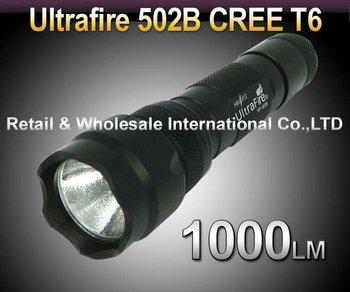 Wholesale 5pcs/lot Ultrafire 502B Cree XML T6 High Power 1000 Lumen 5-Mode LED Flashlight Torch