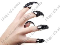 Free Shipping! Wholesale Cat Woman Ring Full Solid Nail Ring Fashion Jewelry PUNK crystal Finger Tip 5pcs/lot VR85