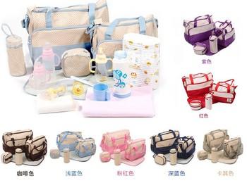 2013 горячей моды Мумия сумка для ребенка подгузников сумки & Голубой, розовый (5pcs/set)