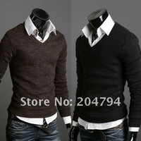 New Mens Casual Slim Fit Long Sleeve Sweater Shirts V-Neck 5 color 3 size CC6071