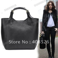 Vintage cheap fashion  Tote Shopping Bag PU Leather Handbag Handle shopping Black free shipping 2648