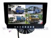 4 CH Video Inputs 9inch Built-in Quad Split Screen Car Monitor