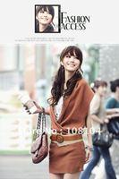 Free shipping, V neck long sweater vest bag hip, ladies dress, giving belt