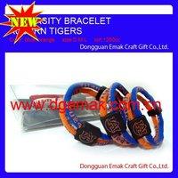 titanium & germanium promotional energy silicone ncaa bracelet football 2 ropes triple bracelet larger stock of AUBURN TIGERS