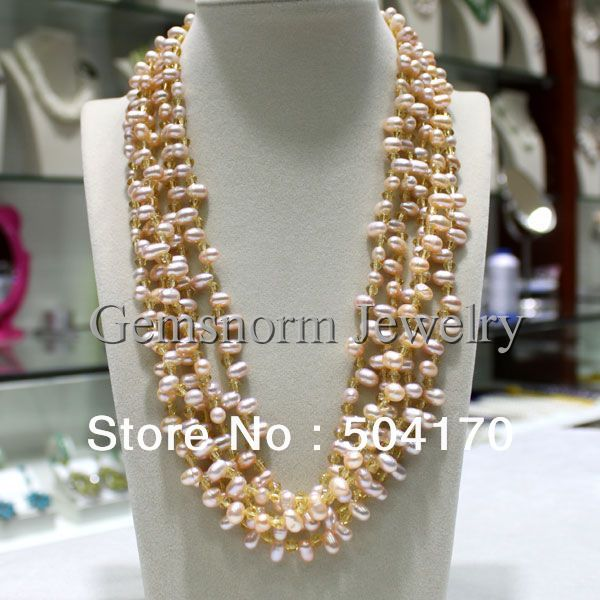 Fabulous 6 Strands Luxury Pearl Necklace Fashion Design Top-drilled Pearls Jewelry Party Jewelry 3 Colors Free Shipping FP035(China (Mainland))