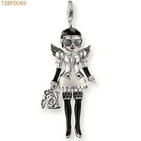 Free Shipping big size black angel wing doll pendant ,925 silver charm pendants,925 sterling silver jewelry,fashion pendants