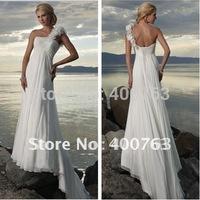2012 Top Sale A-line Chiffon Handmade Flower one Shoulder Beach Wedding Dresses