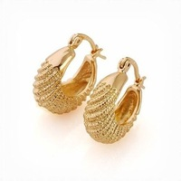 Free Shipping!!! Wholesale Quality Women's Snake Style 18K Yellow Gold Plated Hoop Earrings, Factory Price! (111201-14)