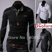 2014 White Men's T-shirt  Shirt Long sleeve cheap Slim Casual Shirt Plaid Collar Cotton M L XL Free Shipping 3555