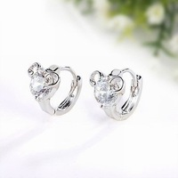 Free Shipping! Women&amp;#39;s Mickey Mouse Style Platinum Plated &amp;amp; 1.2 CT Round Brilliant Cut Grade AAA CZ Diamond Earring (110809-01)
