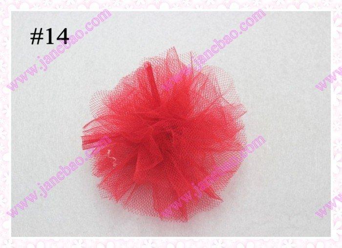free shipping 100pcs 3'' fashion tutu and organza boutique hair bows mix color girl baby hair clips(China (Mainland))