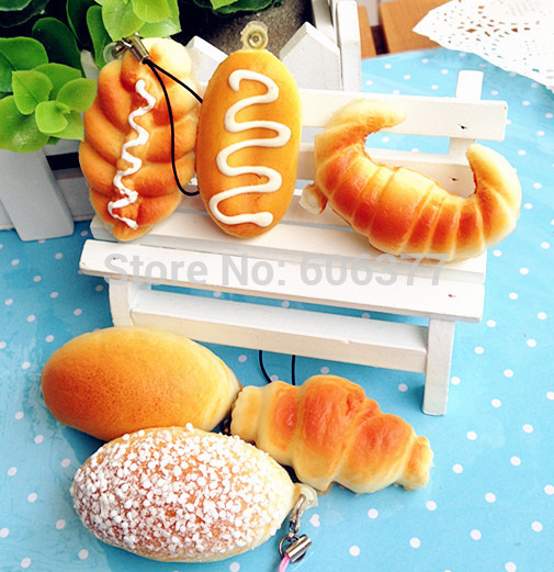 Wholesale Mini Bread Squishy Cell Phone Charm Free Shipping(China (Mainland))