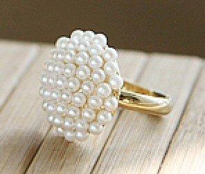 17mm size Fashion elegant Mushroom head white pearl ring,fashion rings J1041(China (Mainland))