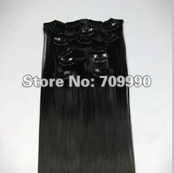 Best Seller Synthetic clip in on hair extension Kanekalon high temperature fiber 7pcs 100g 1set 18 20 22 24 inch #1B Off black(China (Mainland))
