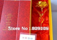 Valentine's Gift ,24k gold rose lover's flower , 25cm length (with card),free shipping , (open,bud)