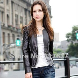 Free Shipping 2013 Spring New Arrival Ladies' Genuine Lamb Leather Garment,Motorbike Leather Jacket#11120(China (Mainland))