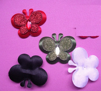 Free shipping  100pcs Padded 2-Layer Shiny Butterfly Appliques
