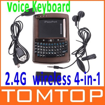 iPazzPort  Mini Voice  Wireless Keyboard Mouse Multi-Touchpad with Speaker and Microphone,Retail Box+Free Shipping Wholesale