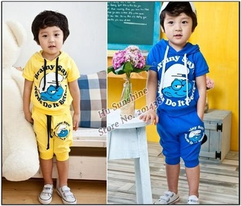 4sets babys casual hooded sports suits girls boys Cartoon clothing set children Wizard suits kids clothes set yellow blue