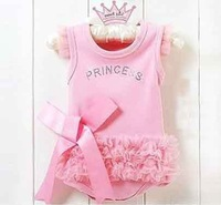 Fashion Baby princess girl rompers pink color 3 pcs/lot free shipping