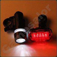free shipping Waterproof LED Bike Bicycle  Head Light+ Rear Flashlight  #9740