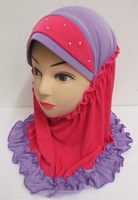 kh001 hot sell Girls Amira hijab with falbala edge and diamond on head in assorted colors for free shipping