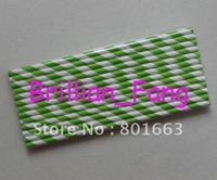 Free shipping 500pcs Color-21 Green Stripe  Paper Straws,  Paper Straws, Drinking Paper Straws Drinking Straws