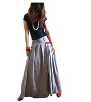 S0011 Free shipping high quality women's Bohemia style patchwork custom made linen long  skirt gray color with  red pocket