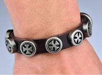 (Min order $10USD) Cool New Metal Clasp Cross Studs Fashion Men Woman Genuine Leather Bracelet Bracelets Free Shipping