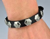 (Min order $10USD) New Punk Cool Metal Studs Men Woman Genuine Leather Bracelet Bracelets