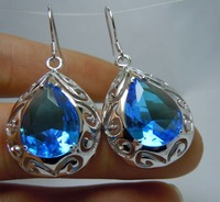 Free transport the world's bestselling jewelry/fashionable 100% water droplets form sea sapphire 925 silver earrings