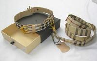 designer pu dog collar+leash set brand check print dog leather lead high quality M L