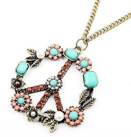 84# High Quality HOT!!! Fashion Necklace Peace Sign Pendants COLORFUL
