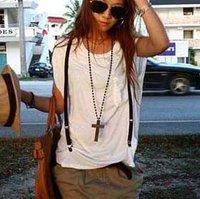 98# Fashion VINTAGE Wooden Cross Pendant Chain Long Bead Necklace
