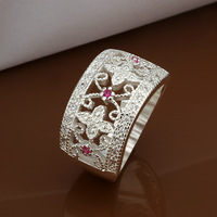 High Quality  925 Silver Classic decorative pattern ring wholesale With Zircon women jewelry brand Free shipping