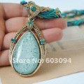 Wholesale Hot! Wholesale 10pcs/lot Vintage American Style, Big Droplet Gemstone Pendant Necklaces, Woman N ...