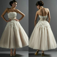 Handmade Flowers Strapless Tea Length Champange Wedding Dress Short 2013 Free Shipping