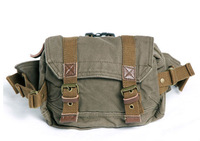 FREE SHIPPING! Thick canvas with genuine leather waist bag unisex canvas waist packs belt bag leisure bag 0102 palm green