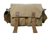 FREE SHIPPING Washed canvas + genuine leather Sling Bag  Men's Messenger Shoulder Bag Postman Bag  Sports bag 2361 khaki