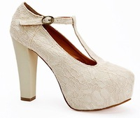 2012 HOT women wedding evening party lace shoes Platform High Heels Pumps #3839-G