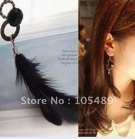 60pair/lot  Fashion Pretty Ear Pendants Real Feather Earrings Nice Earring Gift for GF 2 different color E0002