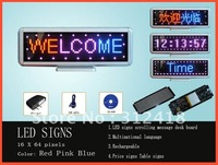 indoor advertising led signs board red pink blue moving display rechargeable (100% quality assurance Free shipping 2pcs/ lot)