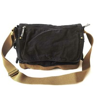 Free Shipping! Thick canvas + genuine leather Sling Bag  Men's Messenger Shoulder Bag leisure bag Handbag 060-4 Dark gray