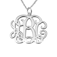 Sterling Silver Monogram Necklace name necklace personalized jewelry