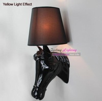 Free shipping Hot Selling Modern Horse Head Resin Wall Lamp European Style Sconce Creative Wall Light Black
