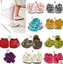 2012 New Styles Free Shipping HOT sell  BABY SHOES!! FLOWERS KIDS SHOES and TODDLER Cotton Mix COLORS 12pairs/lot(China (Mainland))